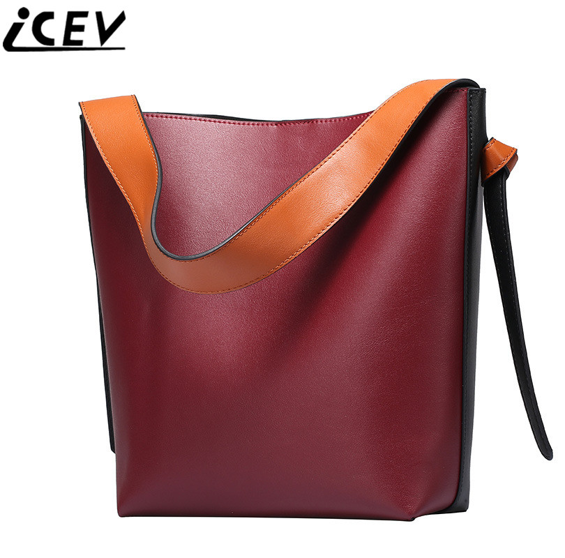 ICEV New Genuine Leather Female Clutch Handbag Large Capacity Tote Bag Ladies Panelled Bucket Bags Handbags Women Famous Brands culinary calculations