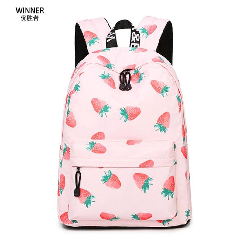 Winner Pink School Bag Strawberry School Bags Sweet Fruit Print Backpack Lovely Girl Travel Backpacks Pink Waterproof Rucksack