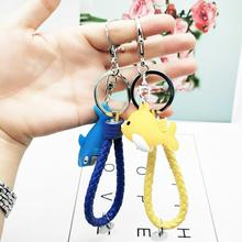 YOUYANG new Pop Cartoon Leather Key Chain  PVC Soft glue Dolphin pendant cute shark Ring fashion gifts for lovers
