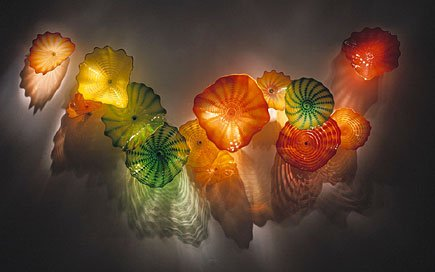 Colorful Hand Blown Glass Plate for Wall Decoration