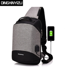 DINGXINYIZU New Men USB Design High Capacity Chest bags Anti-theft Man Crossbody Bag Waterproof Male Casual Travel Shoulder Bags