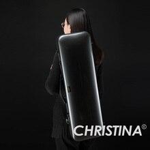 Итальянская Кристина Скрипка чехол высокого качества 4/4 скрипка углеродный Стеклопластик черный цвет скрипичные принадлежности с двумя луками Держатели