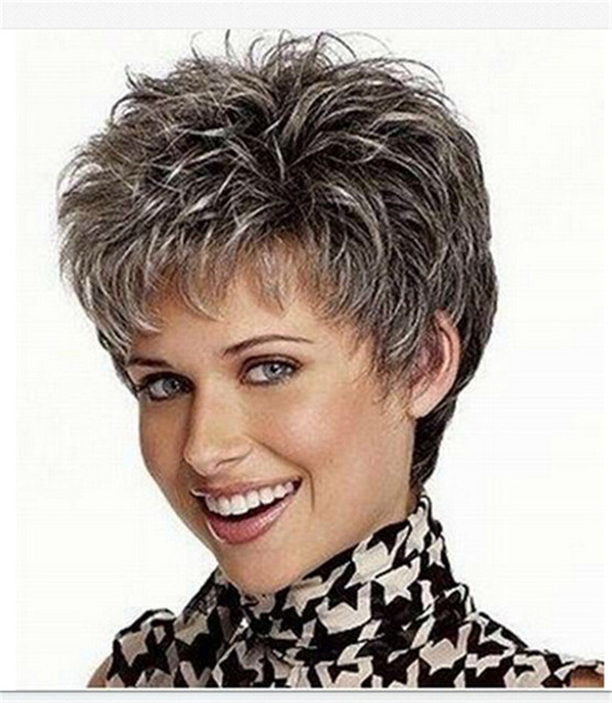Silver Grey Colour Short Curly Synthetic Hair Wigs For Beauty Women+Free hairnets