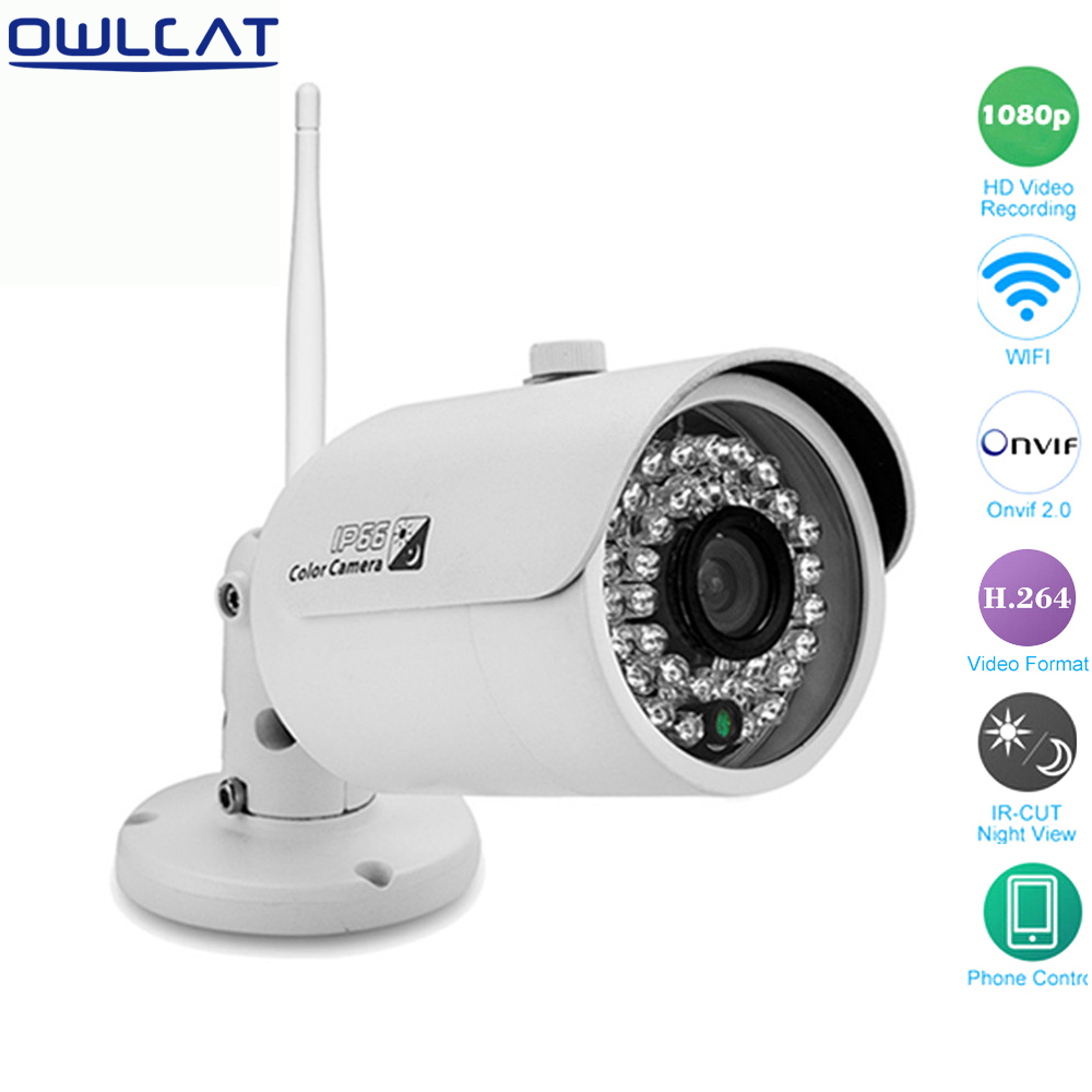 Owlcat Mini WiFi IP Camera Bullet Outdoor Waterproof 2mp Network Camera 1080p 720p Ir Night Security Cctv p2p Onvif B16W B17W ipcc ipcc h03 1 0 mp mini wireless p2p onvif waterproof ip bullet camera w 18 ir led white