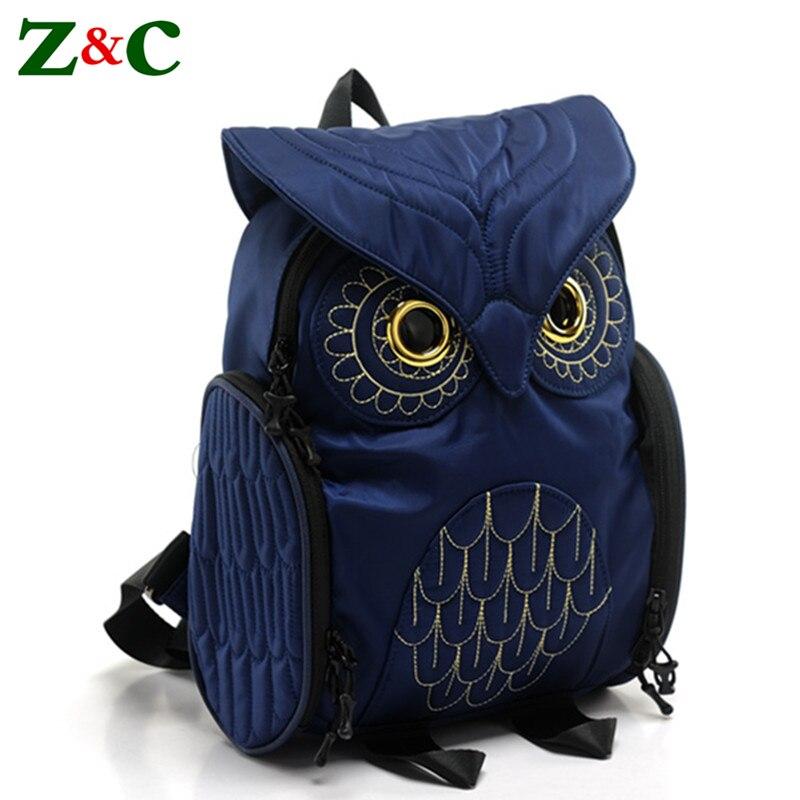 Elegant Owl Backpacks Quality Women Cartoon School Bags for Teenagers Girls Luxury Brand Women Nylon Backpacks Mochila Sac A Dos
