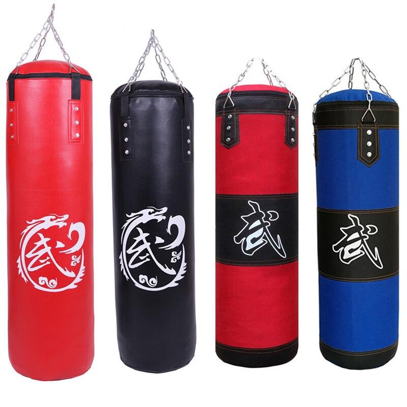 60 cm/80 cm/100 cm/120 cm Rouge Noir Bleu D'entraînement MMA Boxe Sac De Boxe vide Sport Pieds Sable Muay Thai Boxeur Formation