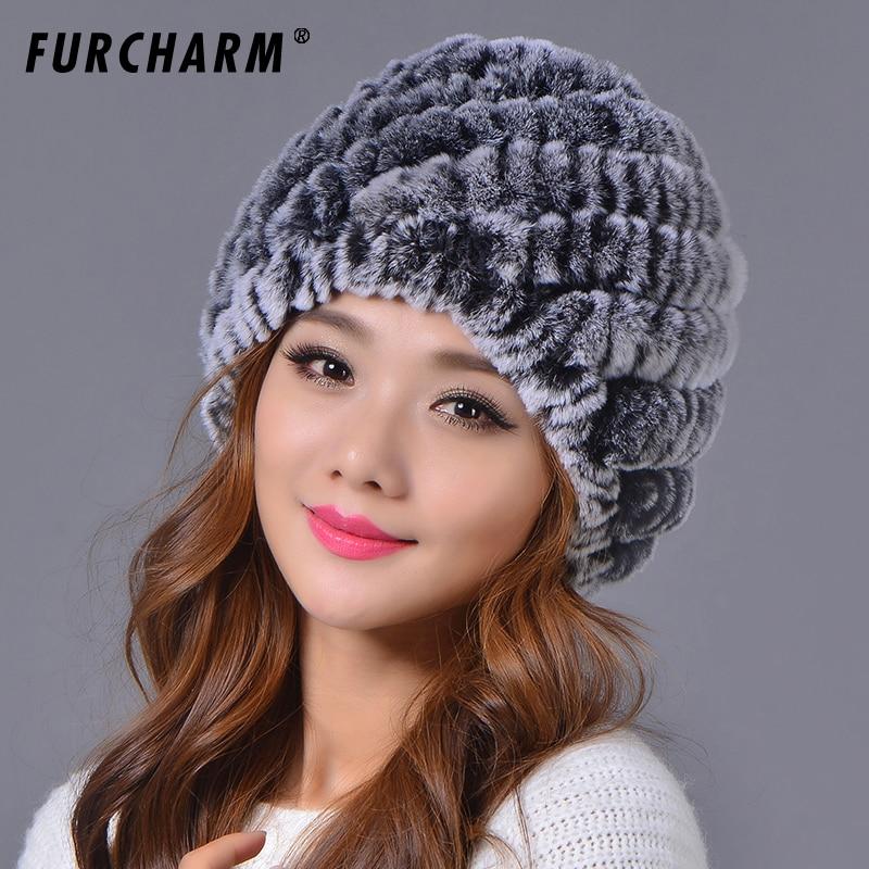09fafd4cb4c 2018 New Fashion Women Winter Genuine Rex Rabbit Fur Hat Girl Real Rex rabbit  Fur Cap Elegant Winter Hat Free Shipping