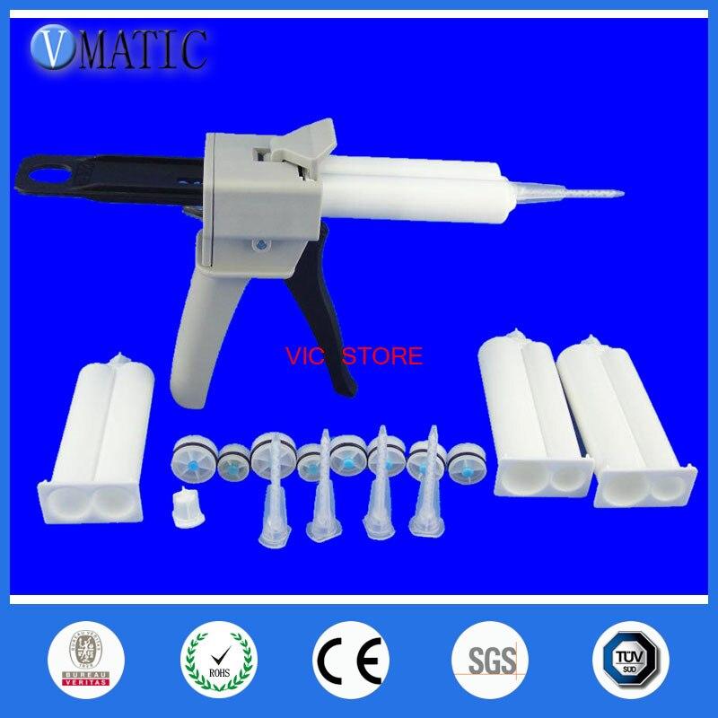 цена на 1 set glue gun 4pcs AB glue cartridge 2:1 1:1 Universal 50ML Manual Dispense Gun x 1pc with Cartridge & 5pcs Mixing Nozzle