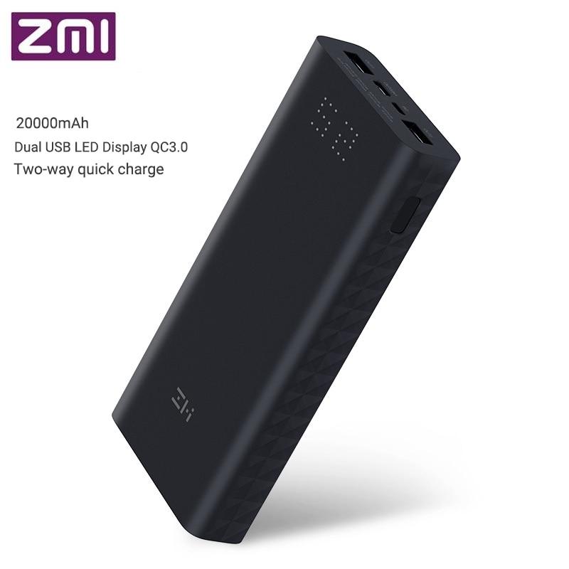 Chargeur portatif à deux bornes usb Xiaomi ZMI QB822 20000 mAh avec affichage numérique QC3.0 Charge de batterie externe Micro et type-c Charge rapide