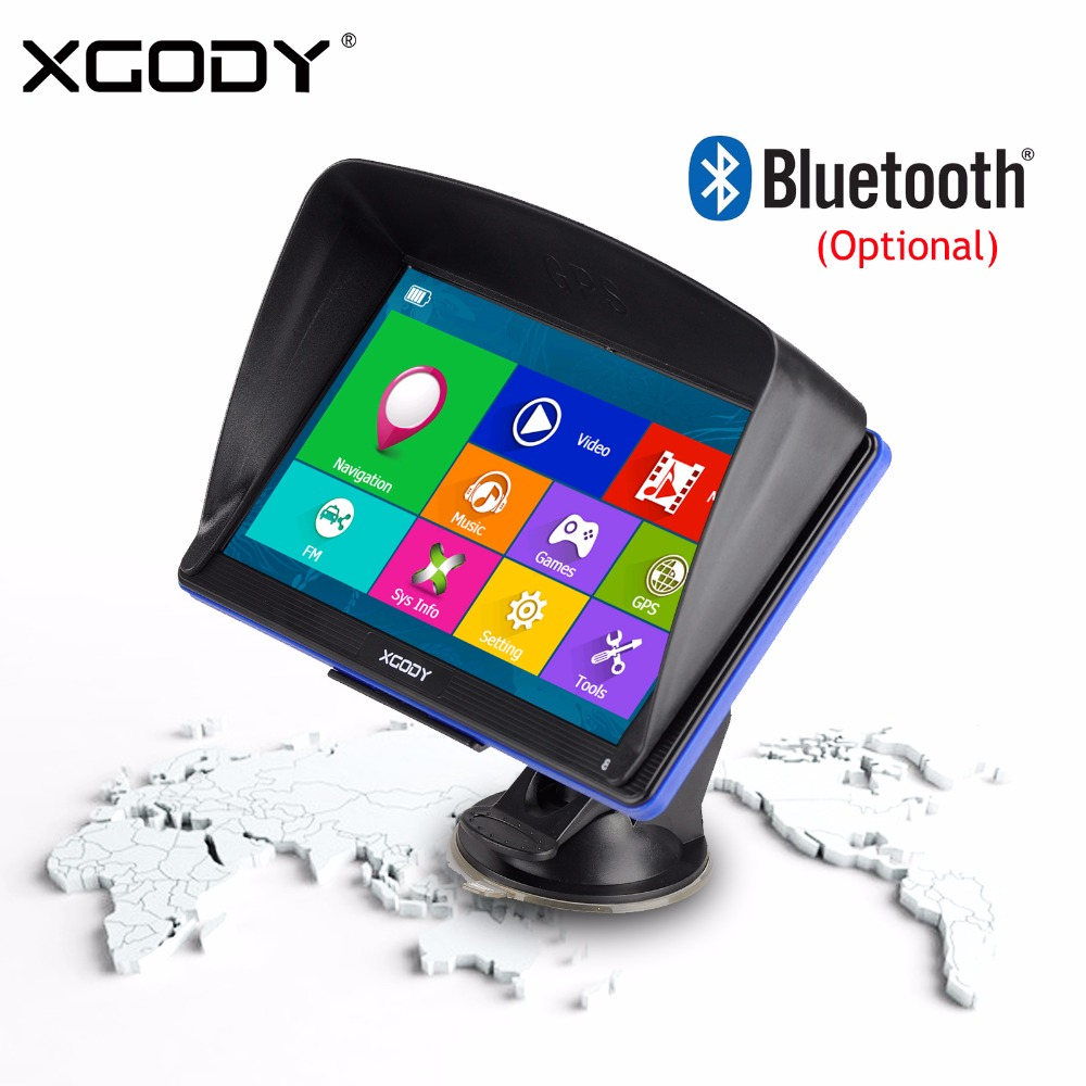 XGODY 7 Inch Car Truck GPS Navigation 256M+8GB Bluetooth AV-IN Touchscreen FM Navigator Rear View Camera Russia 2018 Europe Map 7 inch car gps navigation capacitive screen fm built in 8gb 256m wince 6 0 map for europe usa canada truck vehicle gps navigator