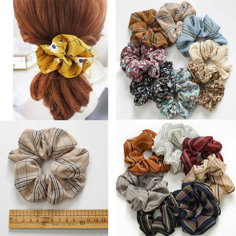 Vintage Flower Striped Plaid Soft Chiffon Hair Scrunchies Elegant Women Girls Printed Elastic Hair Rubber Bands Hair Accessories