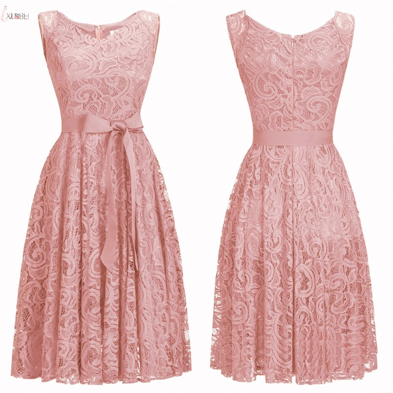 New Elegant 2019 Pink Lace Short   Prom     Dresses   A line Scoop Neck   Prom   Gown Vestidos de gala