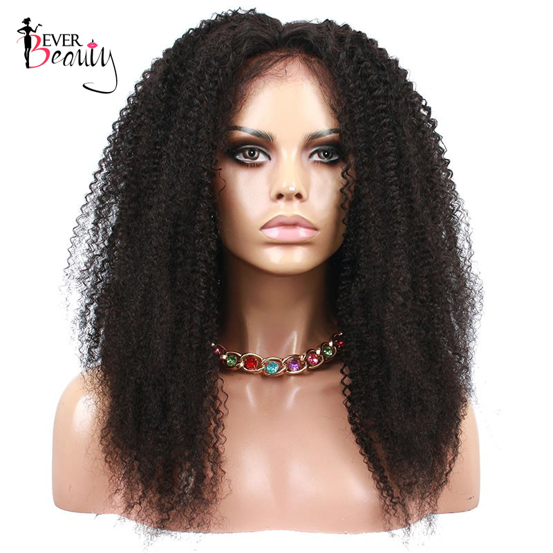 Brazilian 4B 4C Afro Kinky Curly Lace Front Human Hair Wigs Pre Plucked Hairline 130 Density
