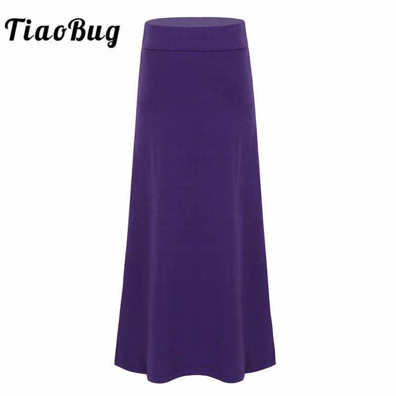 TiaoBug/Детская однотонная эластичная легкая юбка макси для подростков детские