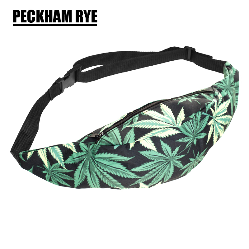 New 3D Colorful Waist Pack for Men Fanny Pack green leaves Style Bum Bag Women Money Belt Travelling Mobile Phone Bag