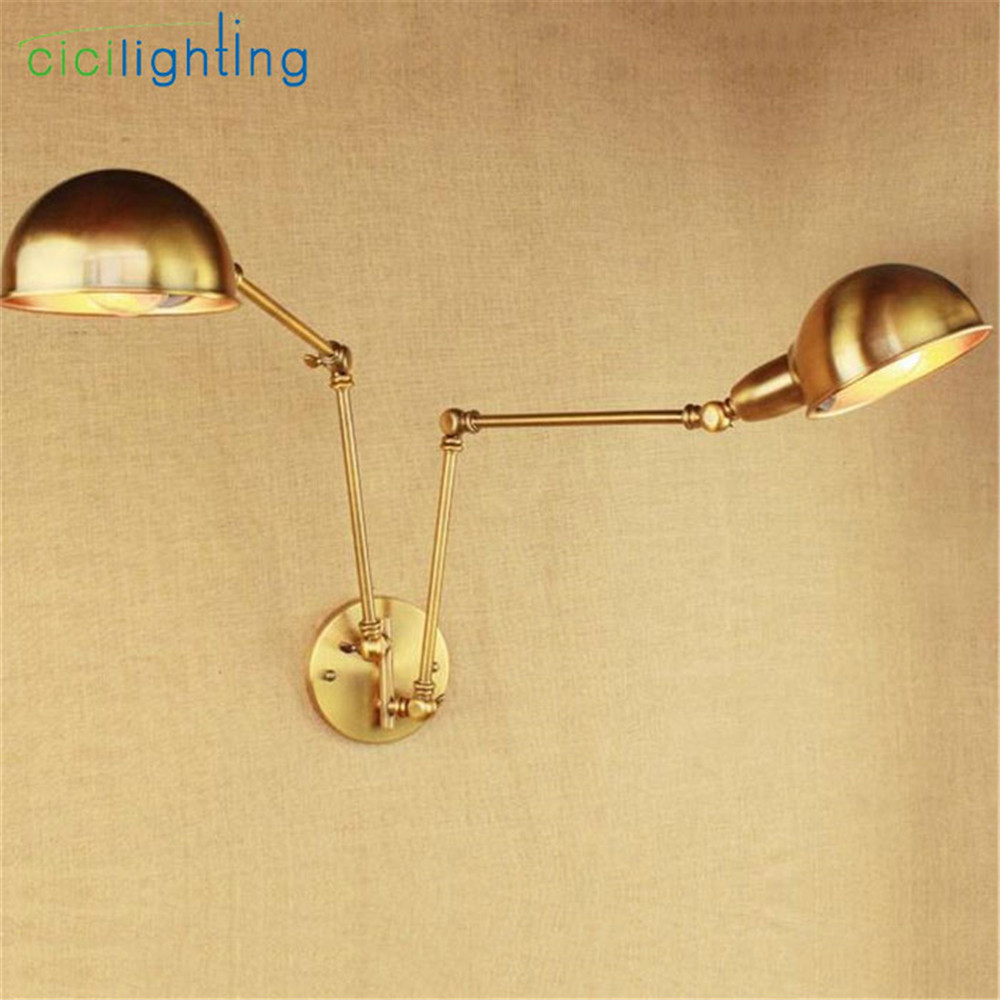 Art Deconew bronze Retro wall light iron arm double aisle living ...