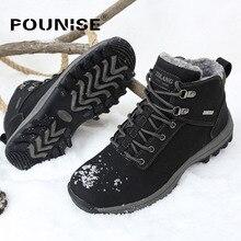 Hommes Bottes D'hiver Avec de la Fourrure 2017 Chaud Neige Bottes Hommes Chaussures chaussures Mode Masculine En Caoutchouc Cheville Bottes En Cuir PU Grandes Tailles 39-46