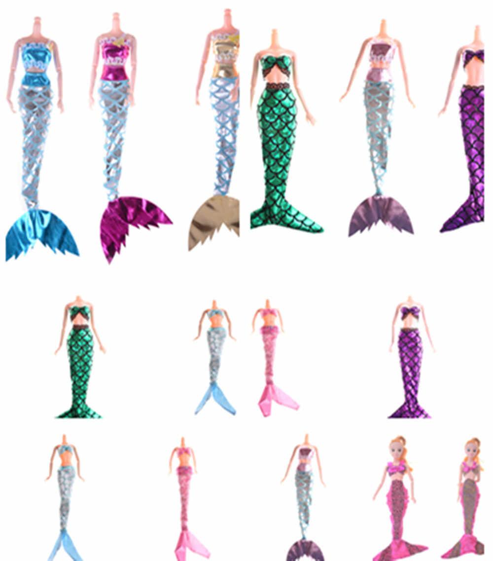 1 مجموعة اليدوية حقيقية حورية البحر الذيل فستان طفل لعبة متعددة أنماط دمى فستان حفلة ثوب تنورة موضة الملابس ل دمية