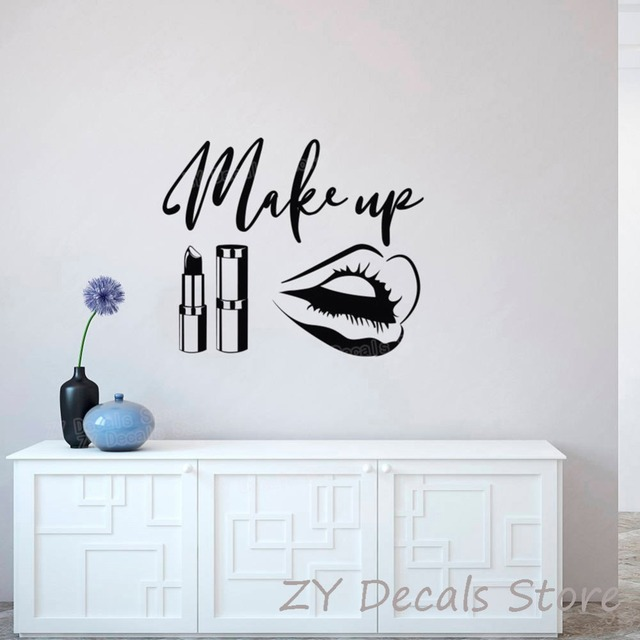Beauty Salon Wall Stickers MakeUp Quote Wall Decals Make Up Wall Art ...