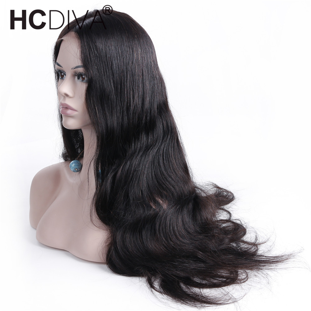 Middle Part Lace Frontal Wigs Pre Plucked With Baby Hair Brazilian Remy Human Hair Wigs Body Wave Wigs Black For Women HCDIVA