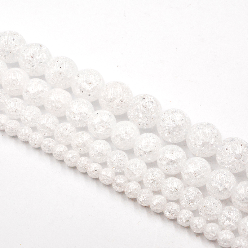 4-12mm Natural Stone White Snow Cracked Quartz Crystal Beads Loose Beads For Jewelry Making Accessories DIY Free Shipping
