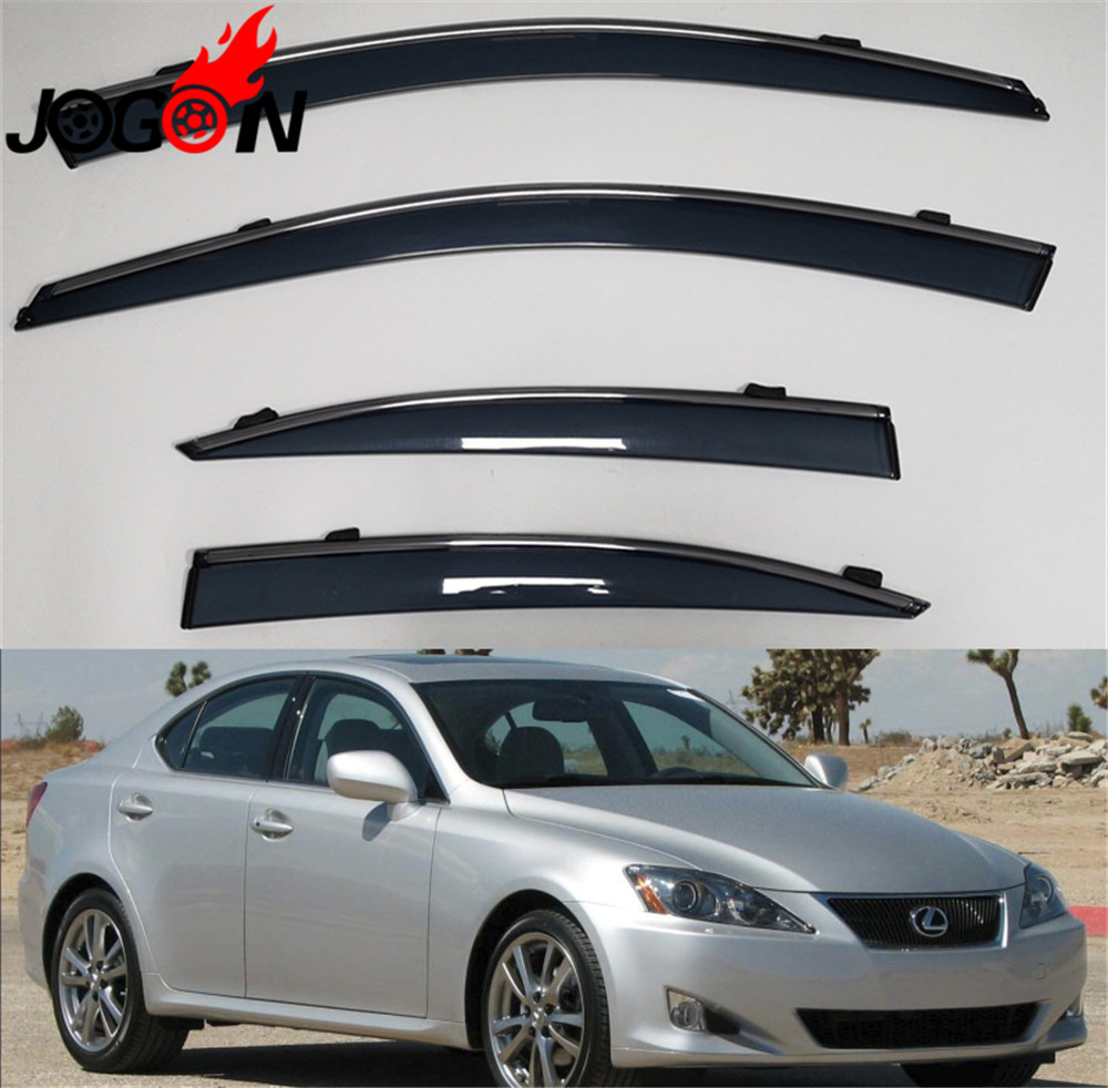 4pcs Accessories Vent Window Visors Shades Shade Visor Rain Guards For Lexus IS200 IS250 IS300 IS350 XE20 2006-2013 Car styling4pcs Accessories Vent Window Visors Shades Shade Visor Rain Guards For Lexus IS200 IS250 IS300 IS350 XE20 2006-2013 Car styling