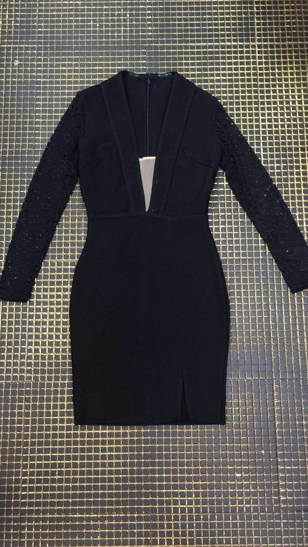 Progettista 2018 Vestido Dalla Nero Manicotto Sexy Modo Di Inverno Merletto Vestito Lungo Del Fasciatura qRSZ7p