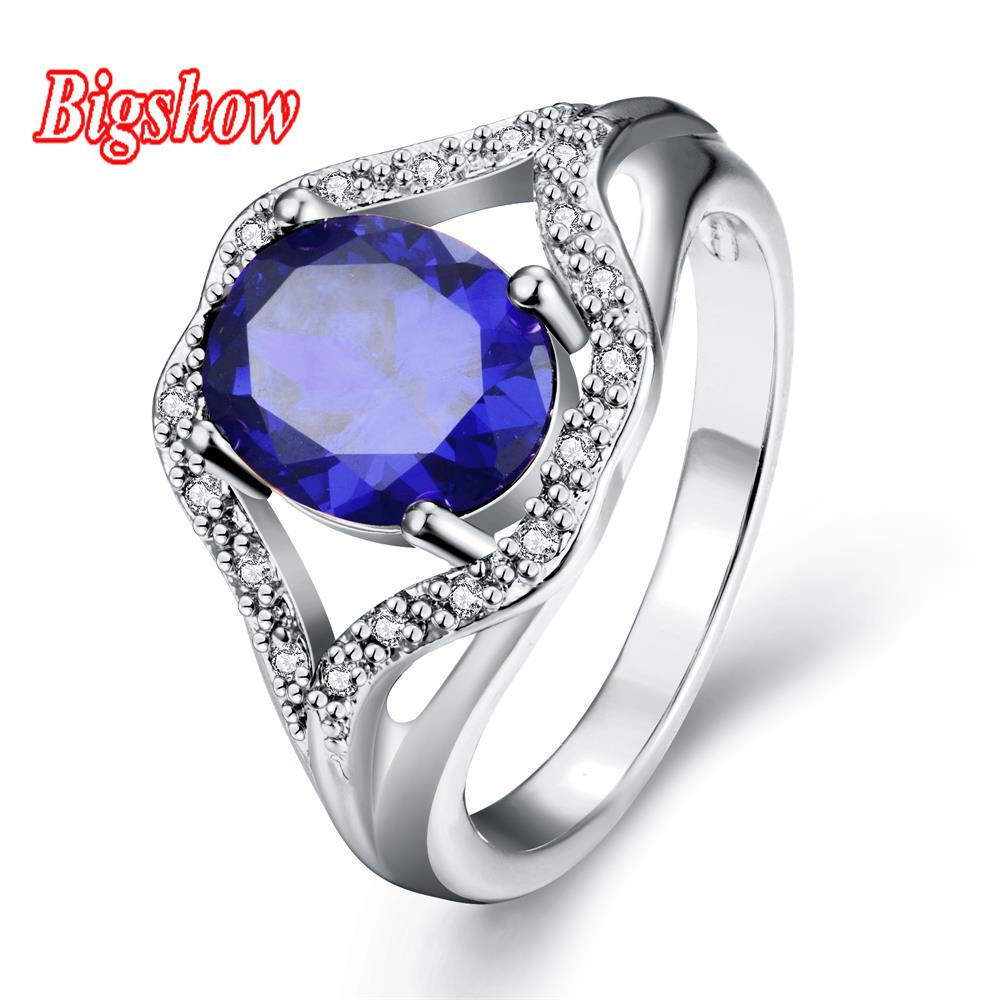 High Quality 24k Real yellow gold rose gold platinum plated jewelry sapphire zircon stone with Austrian crystals R286-C-8