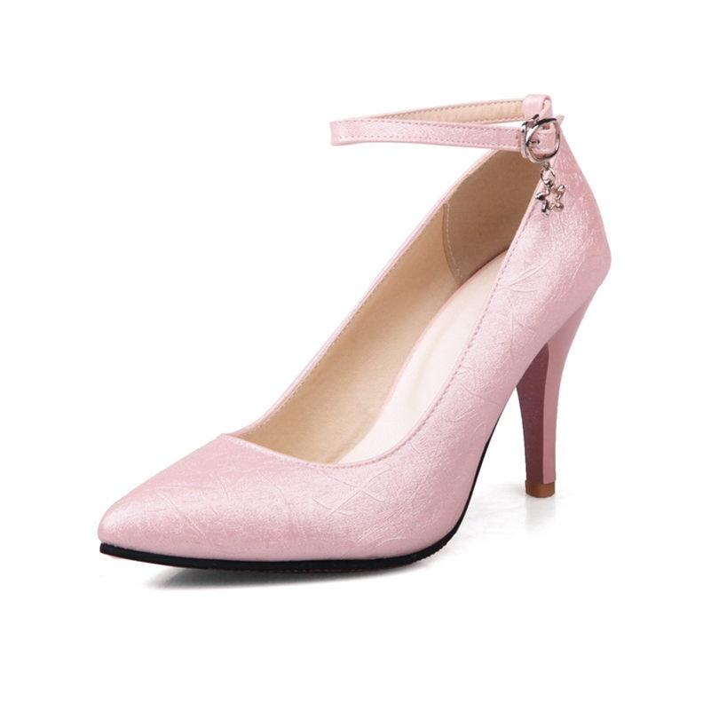 ФОТО Plus Large Size Spring Elegant Women Pumps Thin Spike High Heels Embossed Glitter PU Party Dress Bridal Gold Summer Ladies Shoes