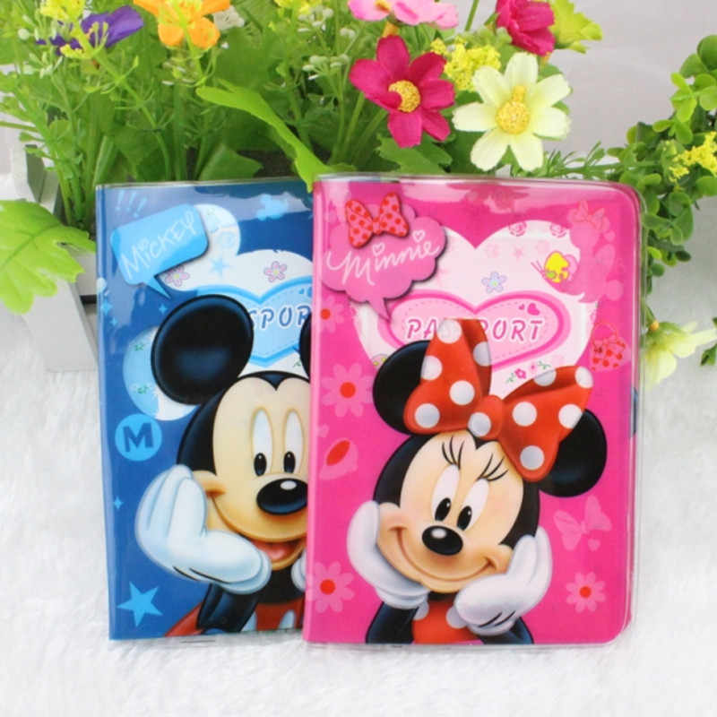 2017 New Creative Mickey Minnie Passport Holders PVC Womens Certificate Cases PVC Leather ID Card Bags Cartoon Passport Coves