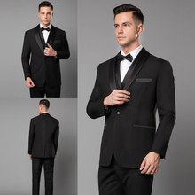 Latest Coat Pants Designs 3Piece Black Mens Suits Wedding Suits Groom Tuxedos Costume Homme Slim Fit Terno Masculino Prom Suit tian qiong mens black wool suits latest coat pant designs chinese style stand collar slim fit groom wedding suit formal wear