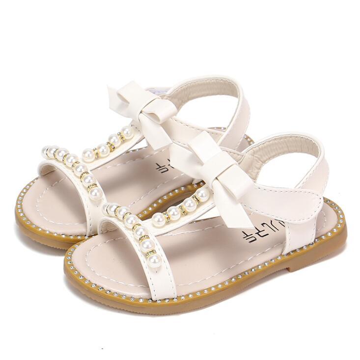 Little Kids Beach Shoes bow Girls Sandals Summer New Korean Flats Princess Sandals Pearl Children's Student Sandal|Sandals| |  - title=