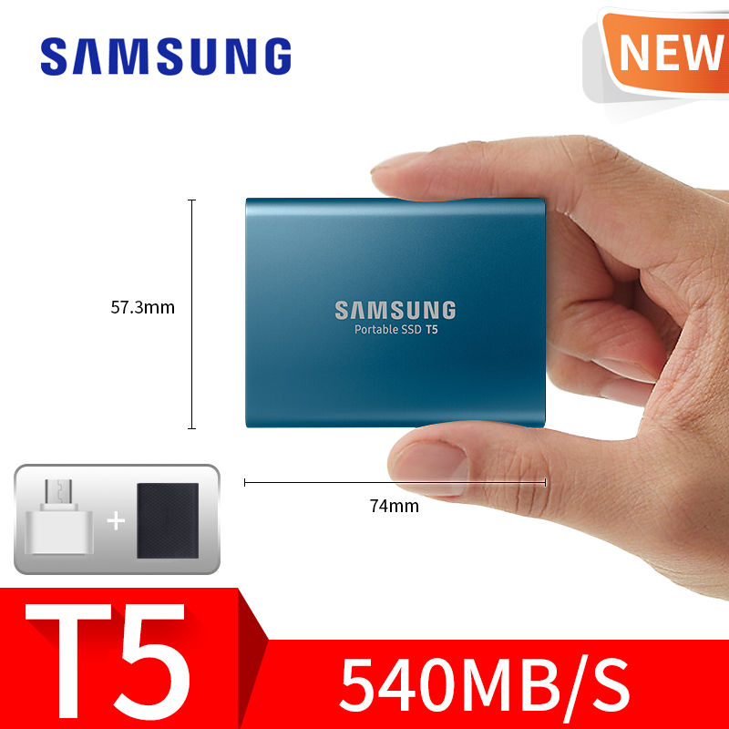 samsung T5 SSD 250GB 500GB 1TB 2TB USB3.1 External Solid State Drives USB 3.1 Gen2 (10Gbps) and backward compatible for PC