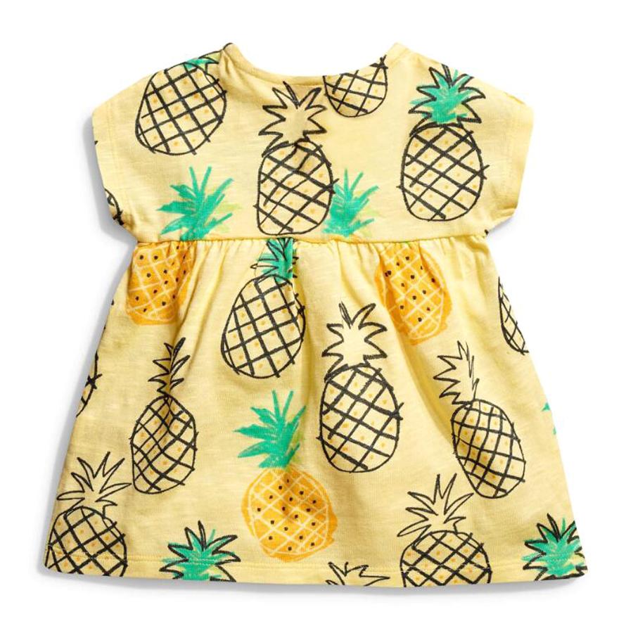 little maven 1-6year cotton party dresses yellow print pineapple little girls dresses o-neck girls dress for children clothing 6