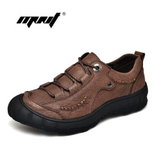 New Comfortable Genuine Leather Men Shoes Lace-Up Men Flats Outdoor Breathable Casual Shoes Zapatos Hombre Dropshipping new men lace up casual shoes leather loafers breathable mens driving shoes luxury comfortable designer flats zapatos de hombre