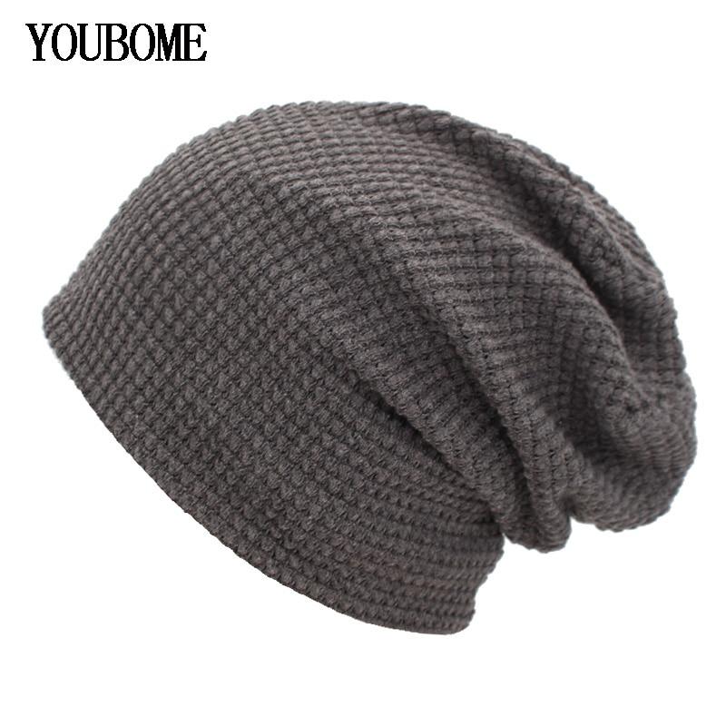 YOUBOME Knitted Hat Men   Skullies     Beanies   Winter Hat   Beanies   For Women Mask Female Cap Gorros Bonnet Baggy Soft Winter Hats Caps
