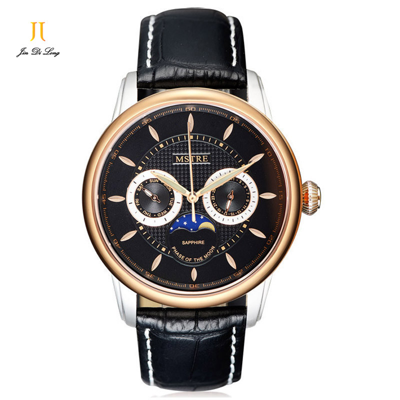 Casual Fashion Classic Women Watch Ladies Quartz Moon Phase Wristwatch Genuine Leather Strap Sapphire Multifunction