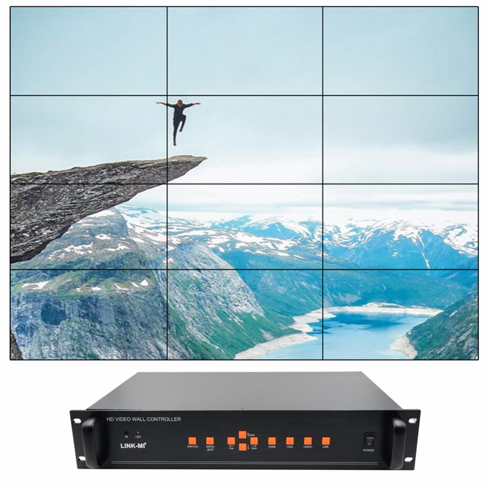 Video Wall Controller 3x4 3x2 2x3 3x3 4x3 stitching Processor 12 TV splitter image shows screen splicing HDMI VGA AV USB input