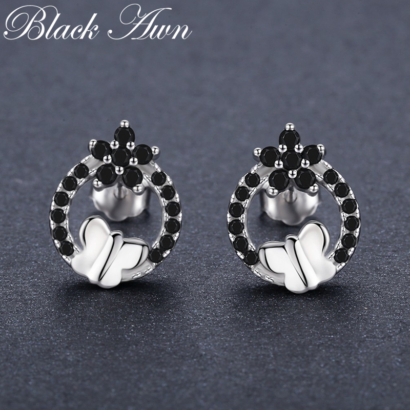 Romantic Flower 1.8g 925 Sterling Silver Jewelry Natural Butterfly Black Spinel Party Stud Earrings for Women Bijoux T205Romantic Flower 1.8g 925 Sterling Silver Jewelry Natural Butterfly Black Spinel Party Stud Earrings for Women Bijoux T205