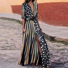 f3018f5a5e7 2018 Summer Women Black Fashion Striped Polka Dot Maxi Dress Half Sleeve  Loose Causal Long Split Dress Dropshipping