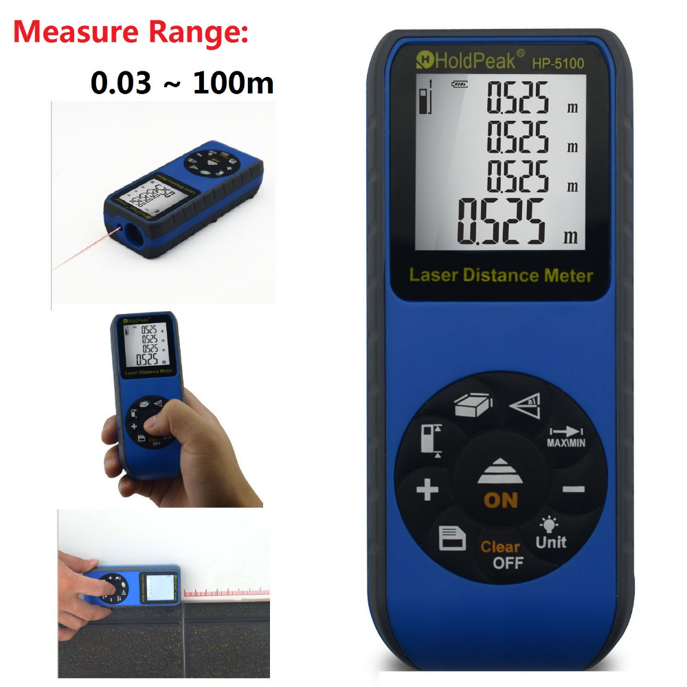 HoldPeak HP-5100 100m Rangefinders Laser Distance Meter Trena Laser Tape Range Finder Build Area Measure Device Ruler Test Tool 80m handheld laser rangefinders digital laser distance meter infrared laser range finder tape ruler measure area volume tool