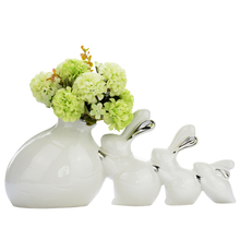 Creative Fashion Living Room Ceramic Decoration Crafts 3 rabbits Figurines Miniatures Home Furnishing Articles Wedding Gifts