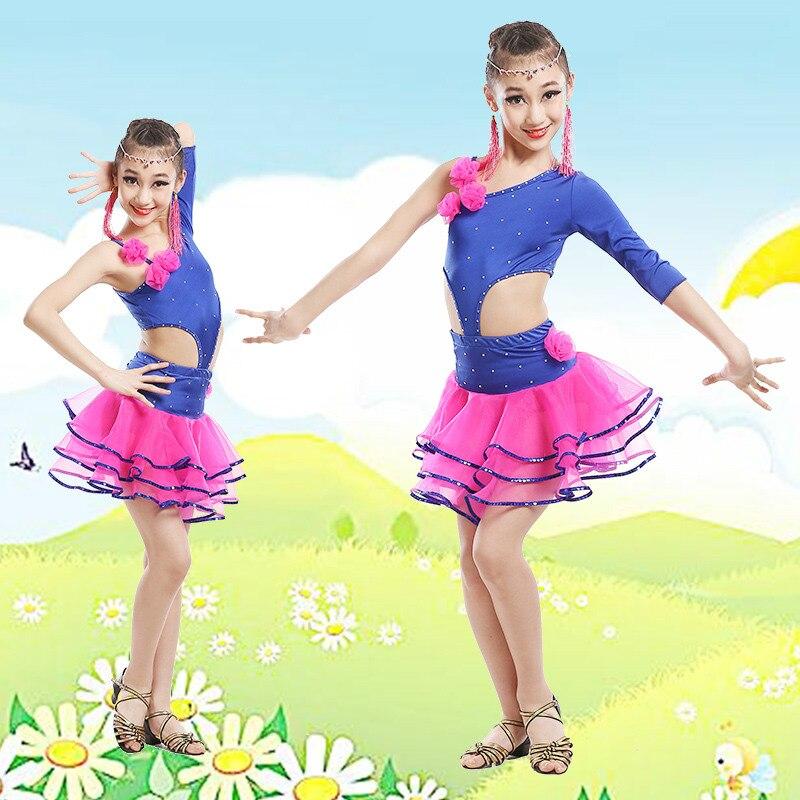Girl Purple Fringe Paillette Latin Dance Costume Child Salsa Dance Costume Kids Ballroom Dance Dress Tango Clothing 89