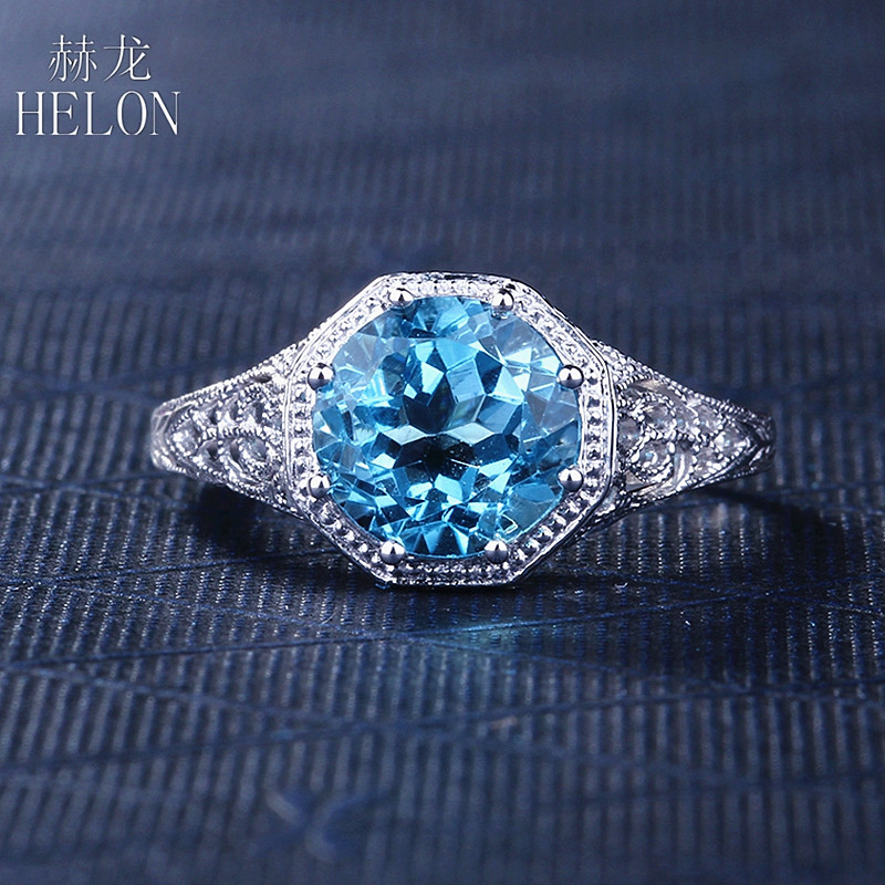 HELON 925 Sterling Silver 8mm Round Cut 2.3ct Blue Topaz Art Deco Antique Solitaire Engagement Wedding Womens Ring wholesaleHELON 925 Sterling Silver 8mm Round Cut 2.3ct Blue Topaz Art Deco Antique Solitaire Engagement Wedding Womens Ring wholesale