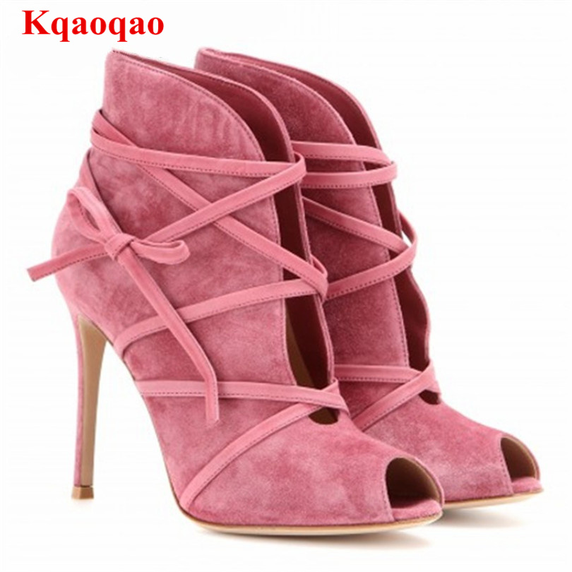 Women Pumps Lace Up High Thin Heel Fashion Chaussures Femmes Runway Super Star Suede Shoes Zapatos Mujer Peep Toe Cross Tied fashion suede leather heeled sandals pointed toe lace up women pumps spikle high heel women shoes zapatos mujer