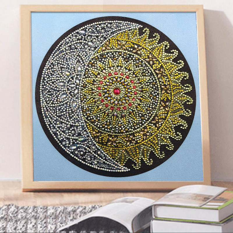 RUBOS DIY 5D Diamond Embroidery Mandala Sun Triptych Diamond Painting Multi Picture Rhinestones Pearl Big Mosaic Sale Wall Decor (2)