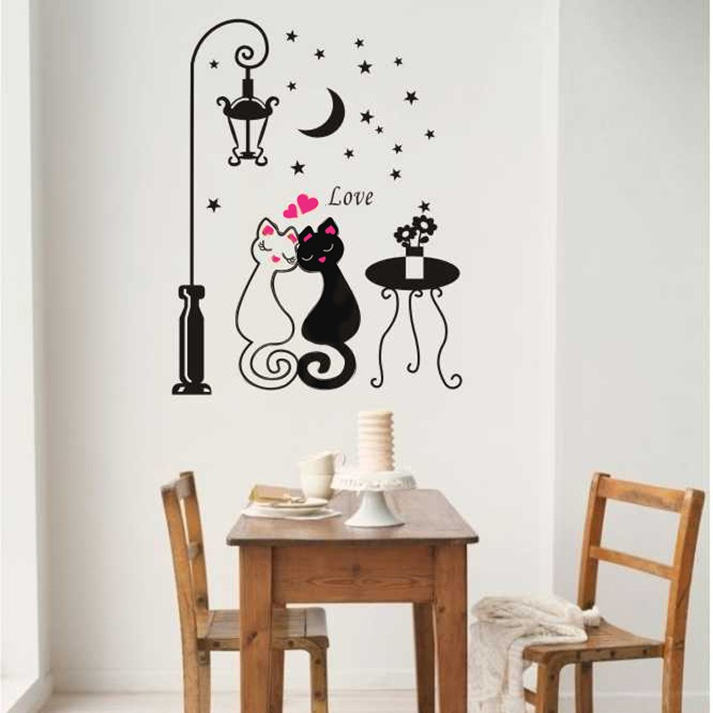 Newlywed Home Decor: Wall Stickers Home Decor Love Cat Couple Street Lamp Moon