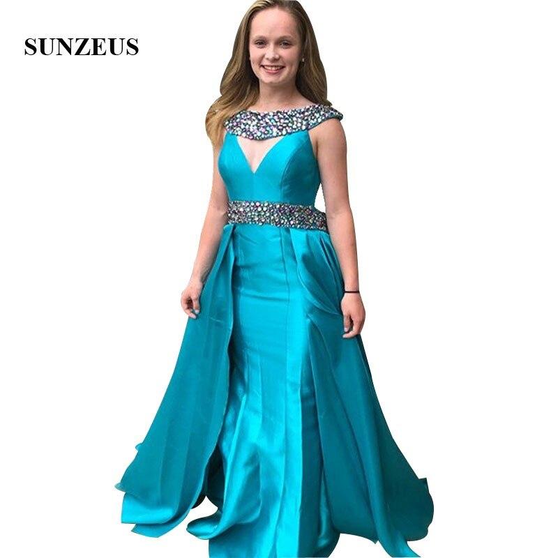 Strass robes de soirée perlées avec jupe amovible longues robes formelles bleues pour les femmes Robe Longue élégante