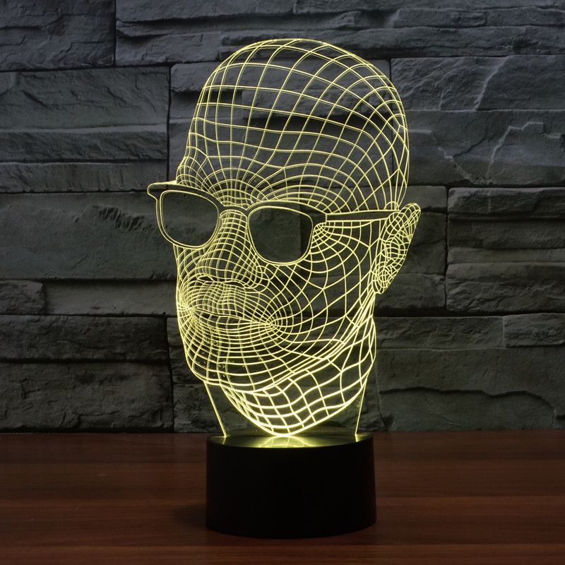 new mens 3D wearing glasses light colorful touch LED visual light gift atmosphere table lamp