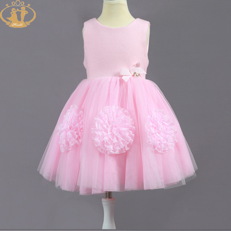 Nimble girl clothes flower Embroidery baby clothes for wedding party elegant Knee-Length clothes for girls moana trolls vestidos